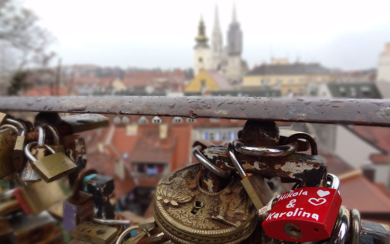 Strossmayer promenade view of Cathedral with love locks