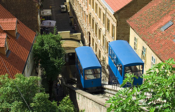 Zagreb Funicular, view from Strossmayer promenade